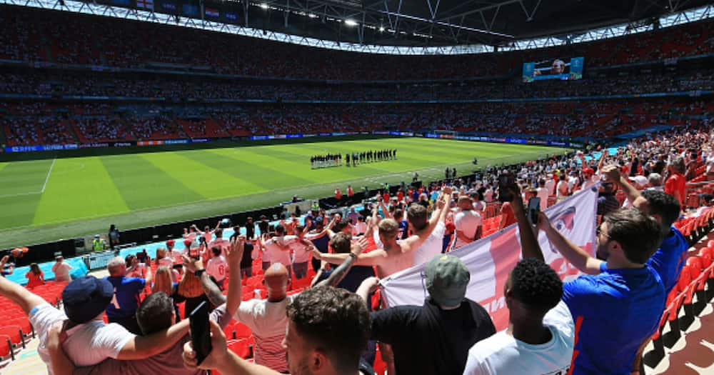Fan Nursing Injuries After 20ft Fall Off Wembley Stadium During Euro 2020
