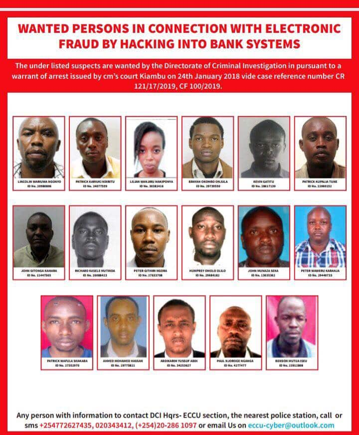 List of Top bank hackers in Kenya wanted by the DCI