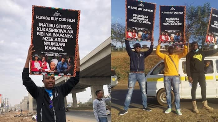Abel Mutua, Phil Karanja Walk on Streets with Placards to Promote their New Movie