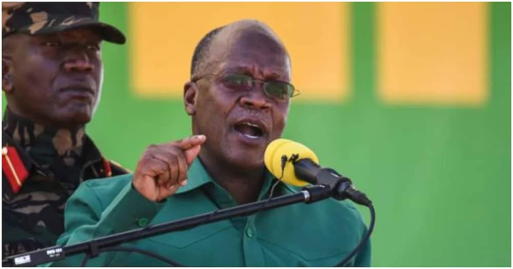 Tanzania's President John Pombe Magufuli in a past address. Photo: Getty Images.