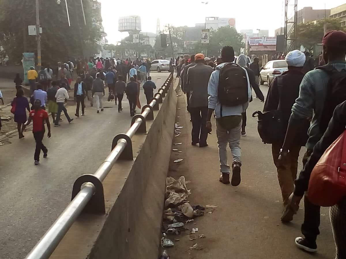 Nairobians walk to work as City Hall blocks matatus from entering CBD