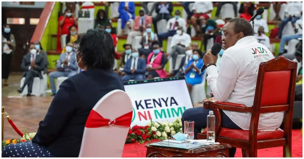 President Kenyatta presiding over the inaugural of Kenya ni Mimi Campaign Forum at Bomas of Kenya. Photo: State House Kenya.