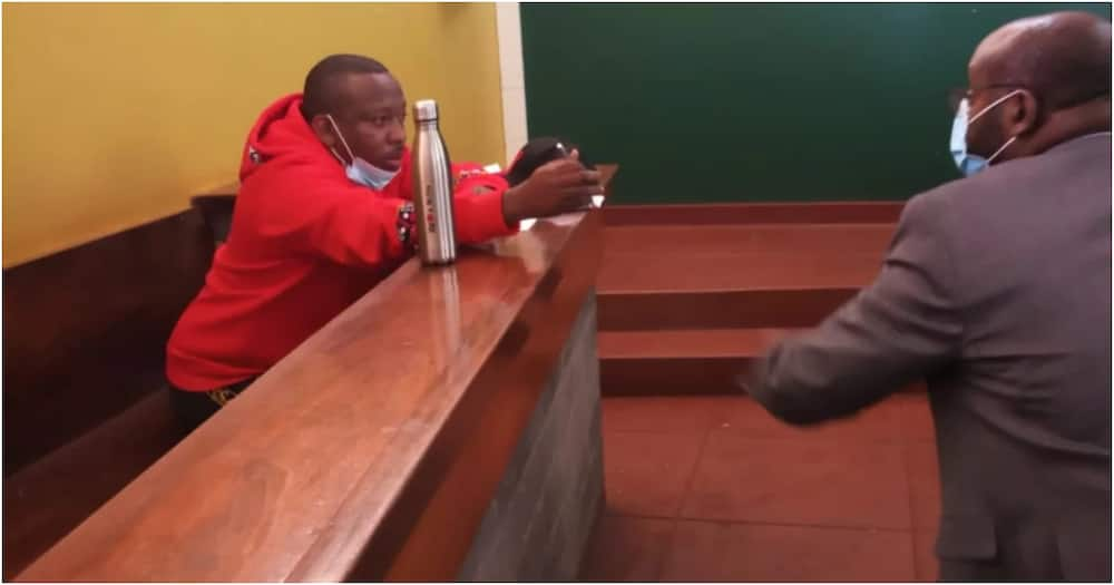 Mike Sonko in court during a recent session. Photo: NTV