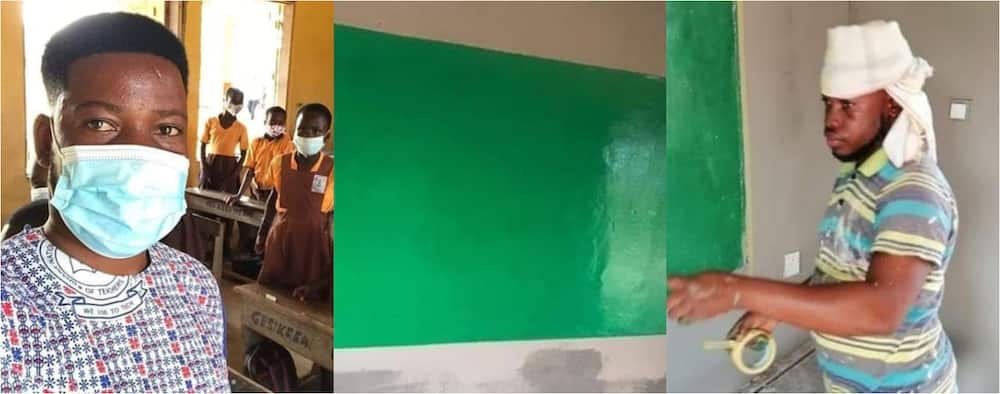 Nana Kojo Butler: Ghanaian teacher paints classroom with his money to welcome students (Photos)