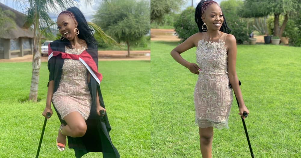 A local disabled woman has shared pictures of herself wearing graduation clothes