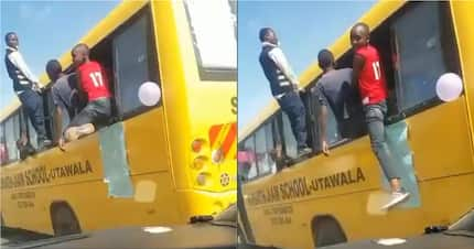 Nairobi pupils in wild KCPE celebrations in school bus break traffic rules from all angles