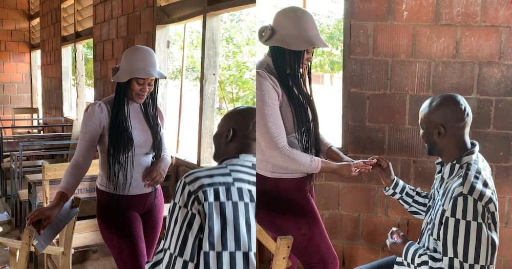 Love Wins: Nigerian Man Proposes to His Girlfriend at His Former Secondary School