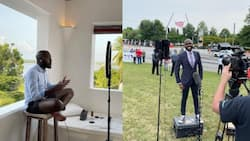 Larry Madowo impresses fans after comfortably presenting news in shorts at beach villa