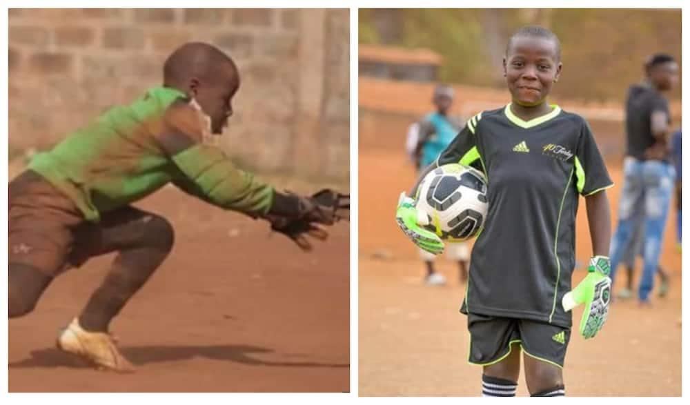Delight as Kenya goalkeeping legend Matthew Ottamax buys young Mathare goalie new gear