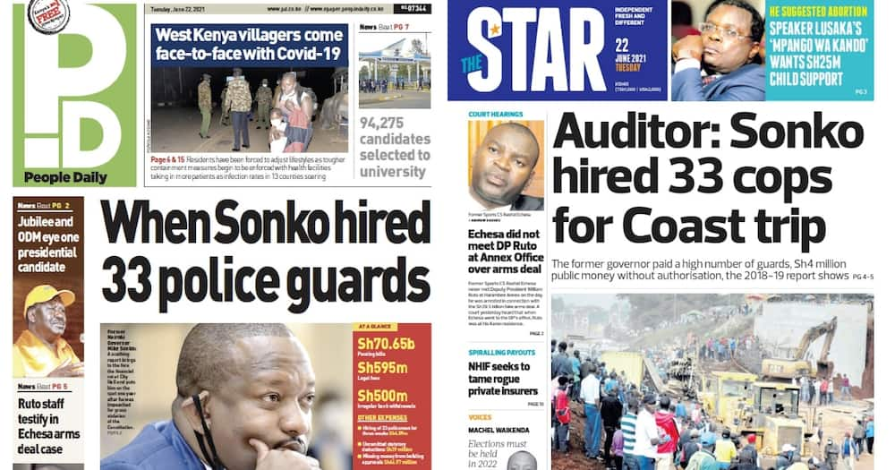 Newspapers Review: Mike Sonko Hired 33 Police Guards During a Three-Week Visit to the Coast