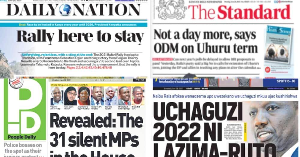 Magazeti Jumatatu, Juni 28: Orodha ya Wabunge 'Bubu' Bungeni Tangu 2020