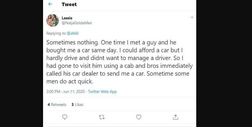 I met a man who bought me a car on the same day - Lady claims