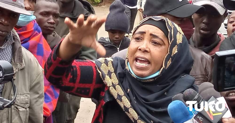 Fatuma Shahenza advocating for the rights of street families. Photo: TUKO.