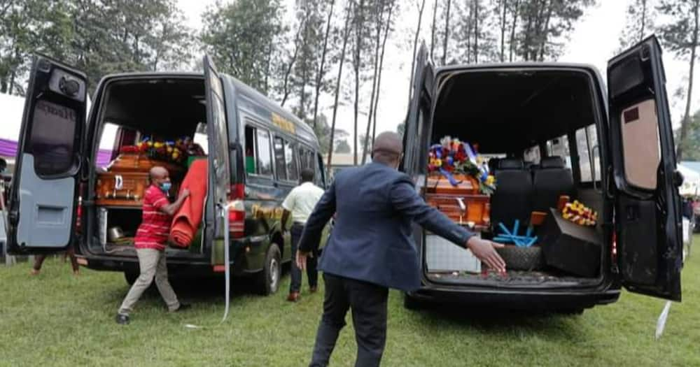 Bodies of the two slain Kianjokoma boys arrive in Embu. Photo: Amnesty Kenya.