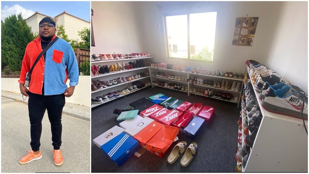 Young Nigerian man flaunts wealth, shows off his room of shows, surprises many online