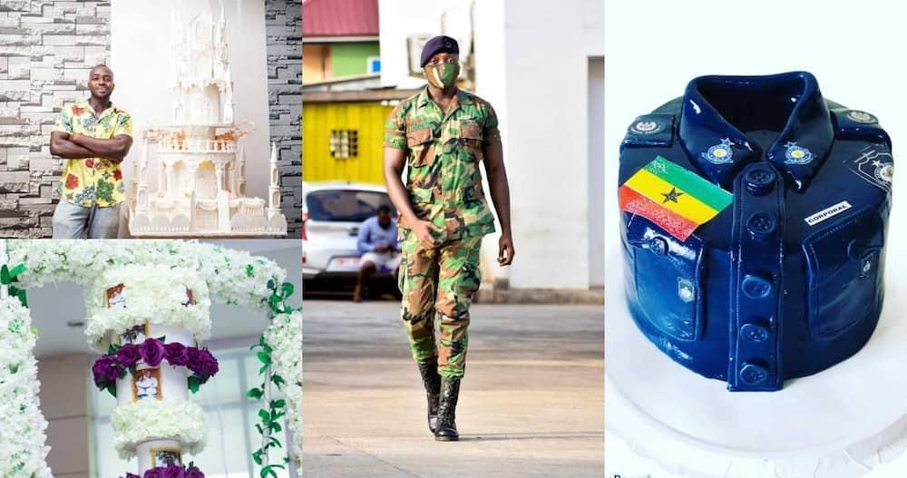 Corporal Amenyo has been praised as one of Ghana's best cake bakers. Photo: @de_bakers_king.