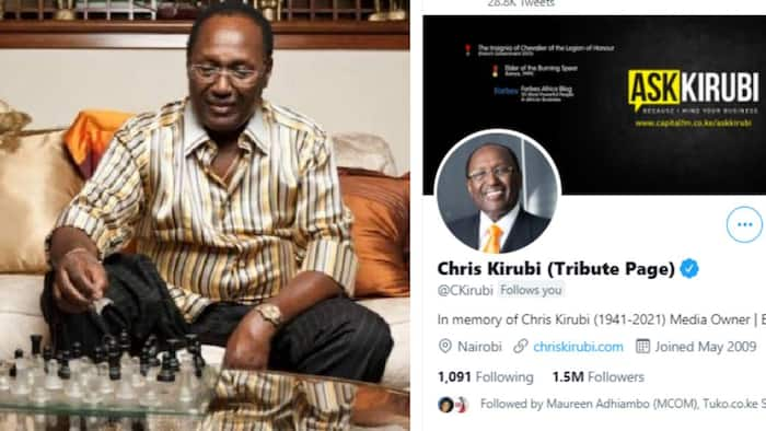 Chris Kirubi's Twitter Account Turned Into Tribute Page Days after His Death