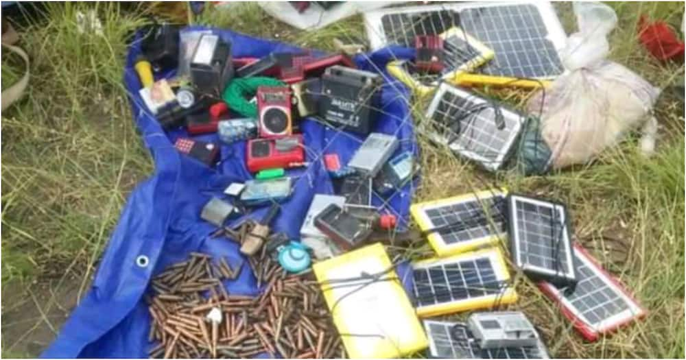 Communication equipment and weapons that were being used by the al-Shabaab terror group. Photo: Citizen