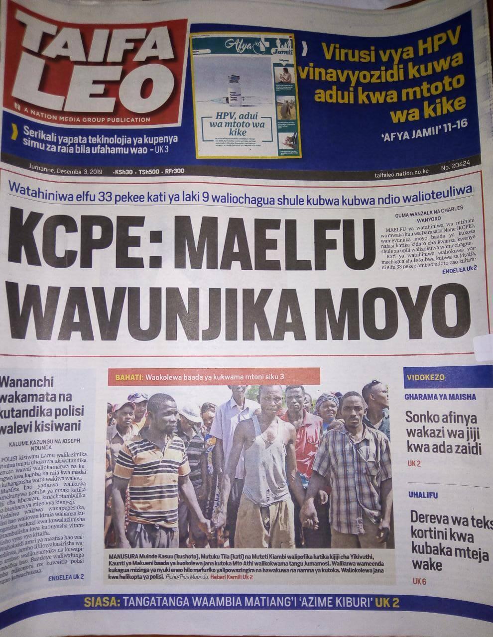 Magazeti ya Kenya Jumanne, Desemba 3: Serikali yawaruhusu walimu wakuu kuongeza karo