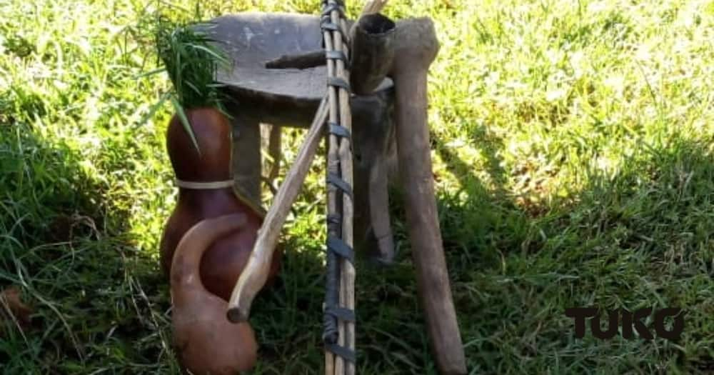 """""""The calabash having """"Sinendet"""" as a lid was carried at the back this represented blessings of children"""", James Kibor a traditional Motiryot. Photo: TUKO.co.ke."""