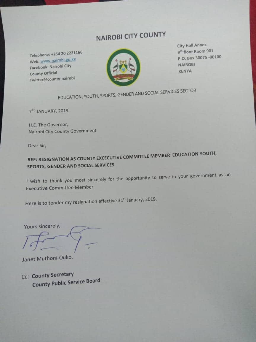 Nairobi county committee member resigns with two paragraph letter to Mike Sonko