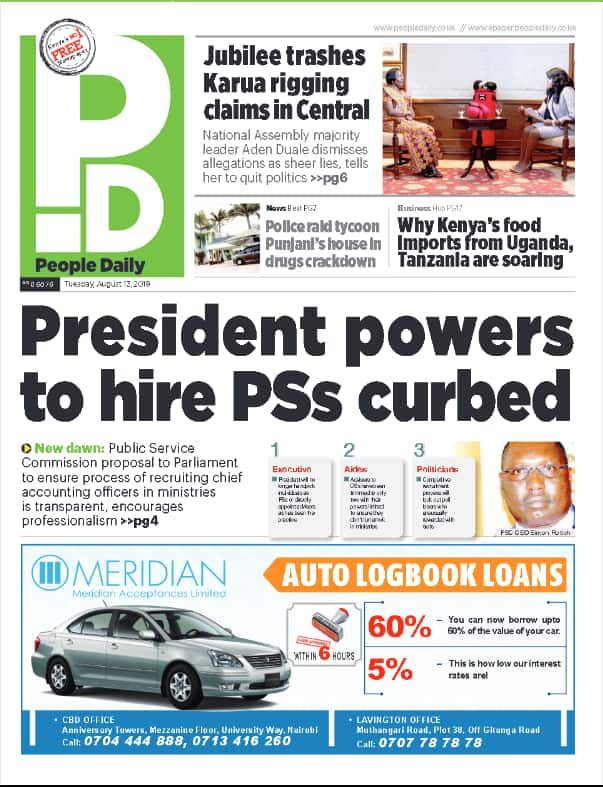 Kenyan newspapers review for Monday, August 13