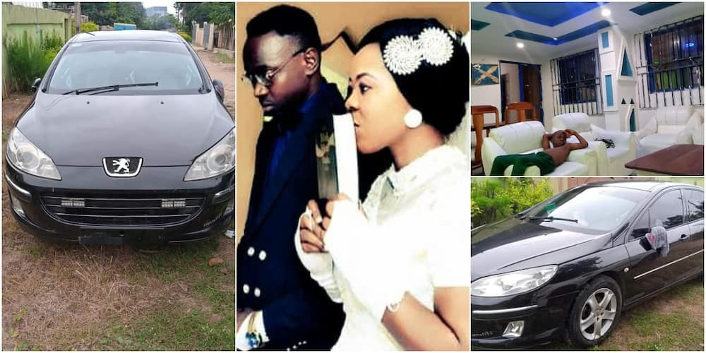 Social media reacts as Nigerian lady buys car for husband, completes their house
