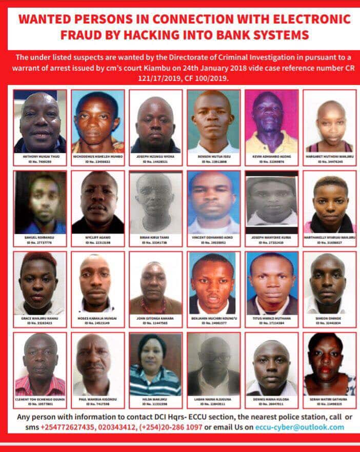 Detectives parade faces of Kenyans believed to be hacking bank systems