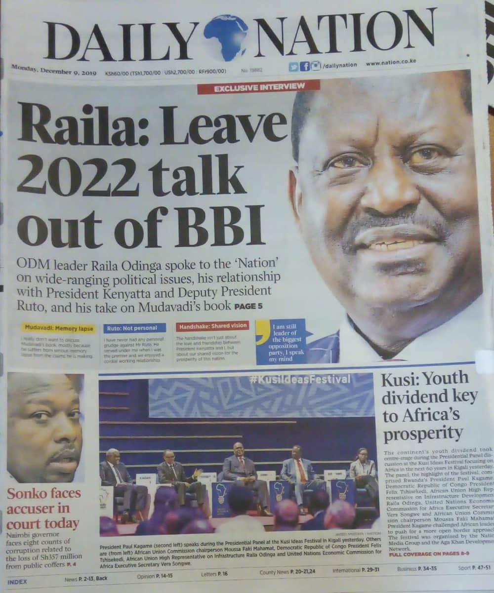 Magazeti ya Kenya Jumatatu, Desemba 9: Raila asema Mudavadi anaugua maradhi ya kusinyaa kwa ubongo