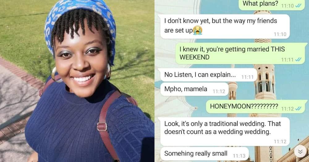 She shared a screenshot of their conversation online. Photo: @MphoMoalamedi.
