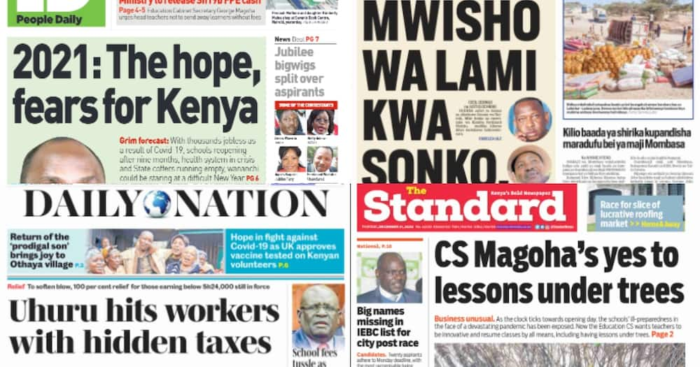 Kenyan newspapers review for December 31: Miguna's name missing in race for Nairobi governor