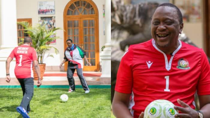 Uhuru enjoys football with CS Amina, wishes Kenya the best ahead of AFCON opener