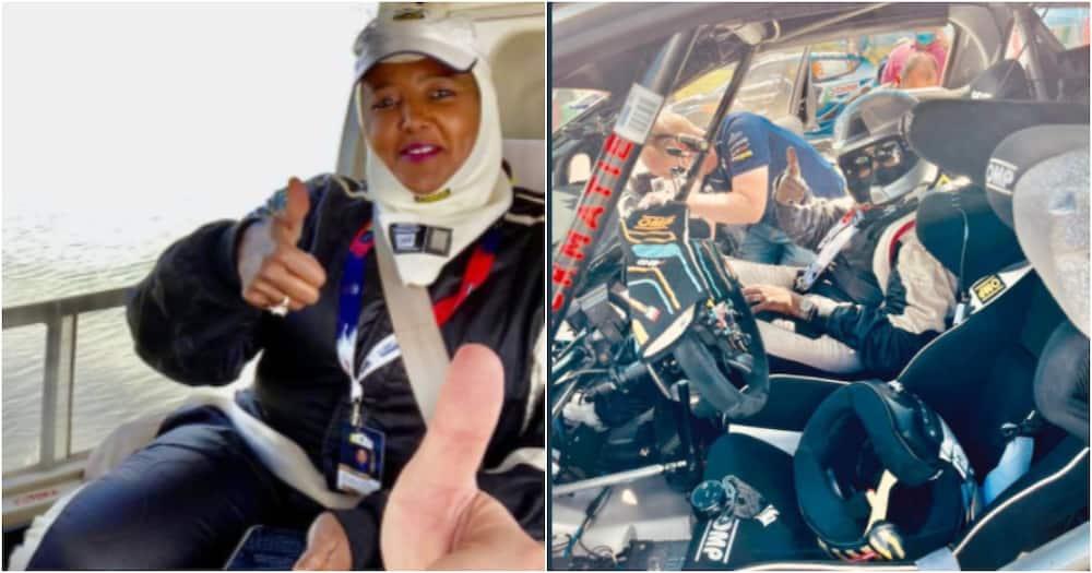 CS Amina Mohammed in a Safari Rally car