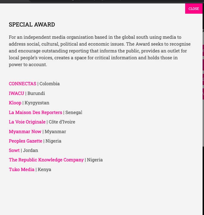 TUKO.co.ke Nominated for One World Media Special Award 2021