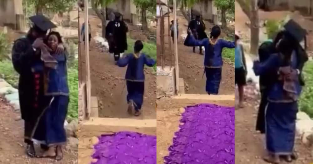 Poor mum who could not afford graduation gift for son lays her cloth on floor for him (video)