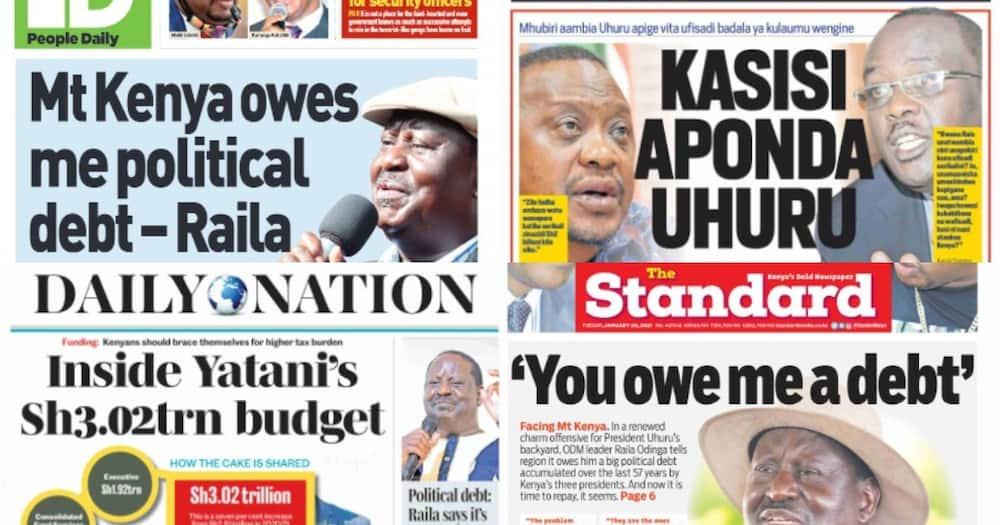 Kenyan newspapers review for January 26: Raila Odinga says it's time Mount Kenya region repays him political debt