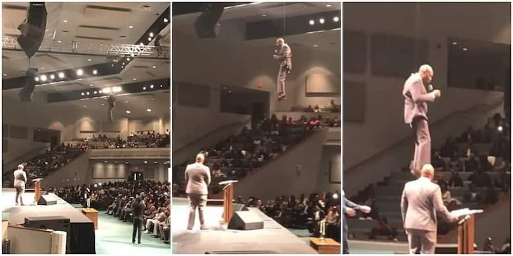 Flashback: Video of the stunning moment a pastor 'flew' in to give sermon to church members