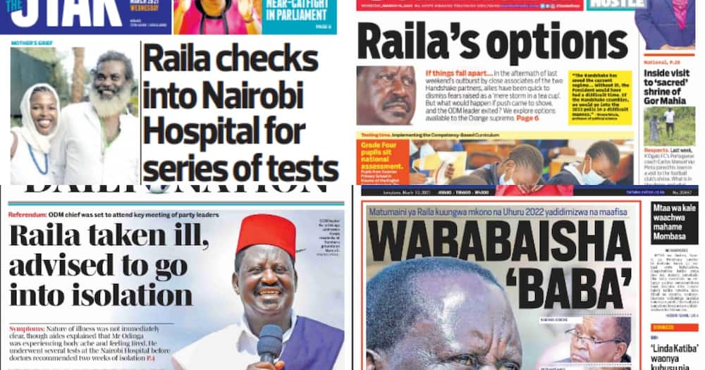 Newspapers review for March 10: State House handshake meeting cancelled as Raila Odinga is taken ill