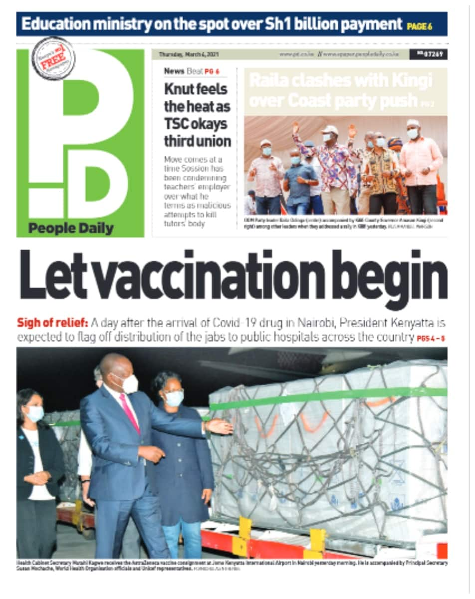People Daily newspaper for March 4. Photo: UGC.