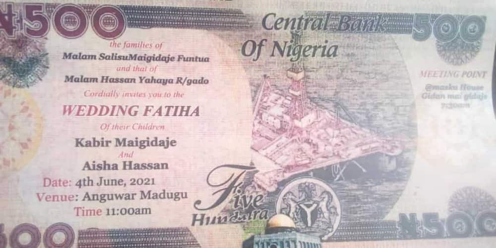 It's IV and transport fare: Massive reactions as wedding invitation designed like N500 note goes viral