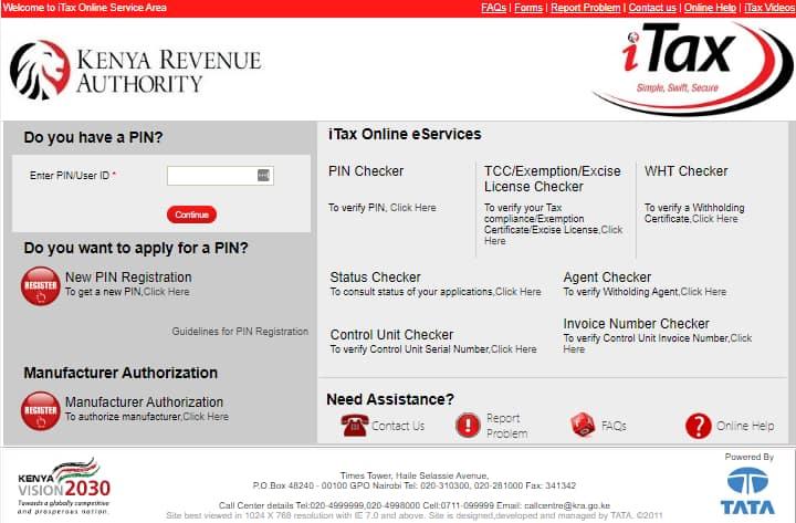 KRA PIN certificate retrieval