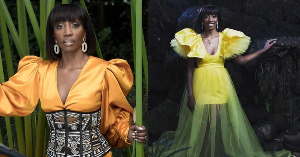 Yvonne Okwara looks 10 years younger in figure-hugging mustard top