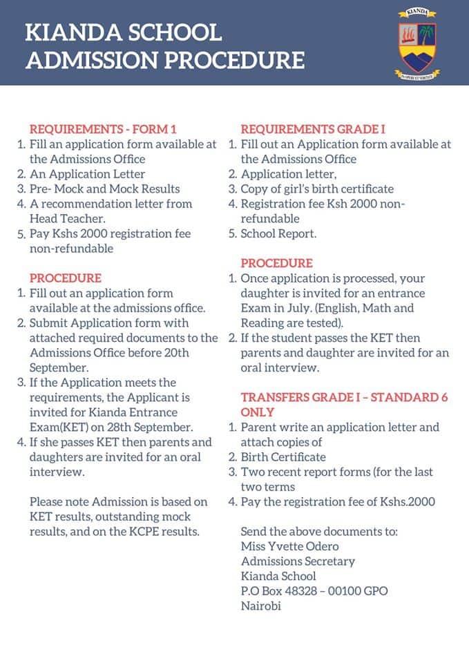 Kianda School admissions