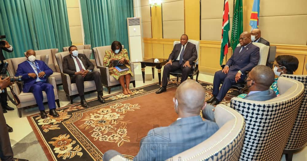 President Uhuru Kenyatta and his DRC counterpart Felix Tshisekedi at the Palais de la Nation. Photo: State House Kenya.