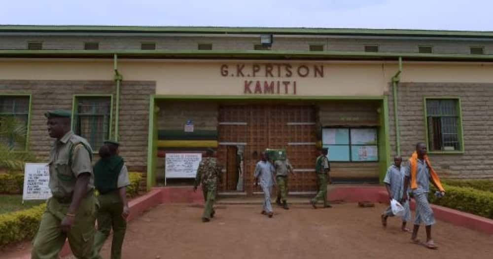 Prisoners and warders outside the Kamiti Maximum Prison.