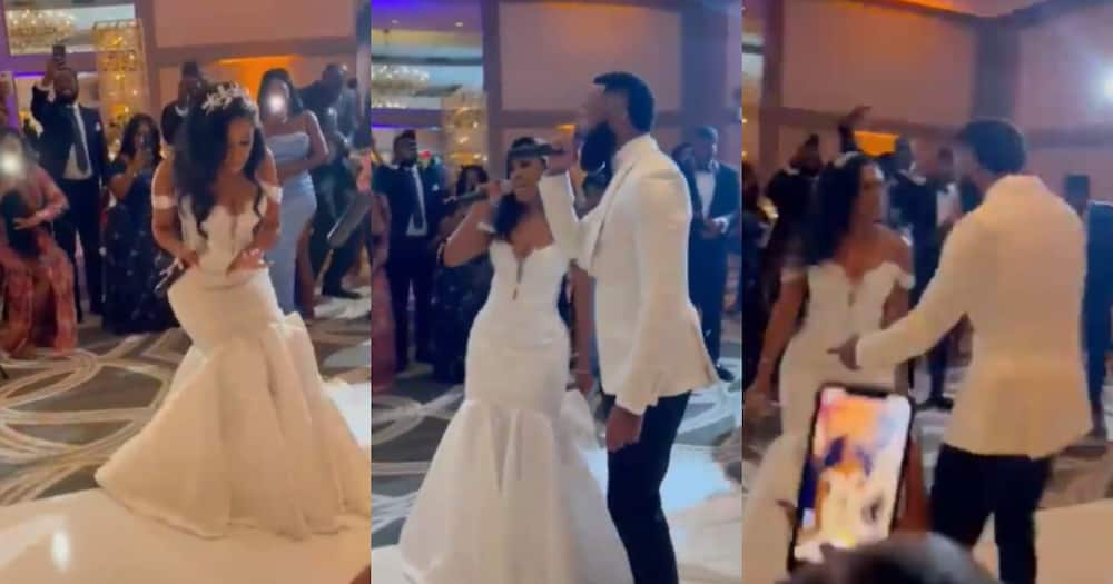 The bride was rapping as her hubby turned into her hype man.