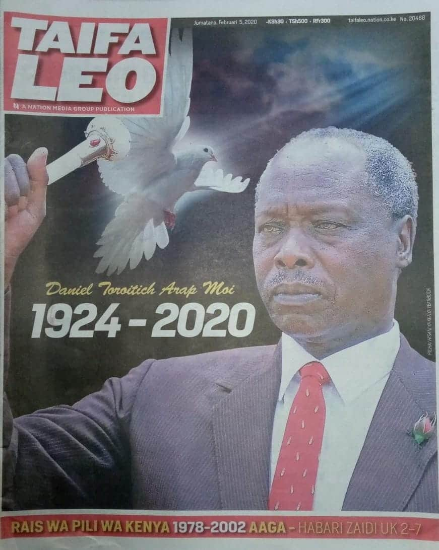 Kenyan newspapers review for February 5: Daniel Moi took last holy sacrament shortly before death