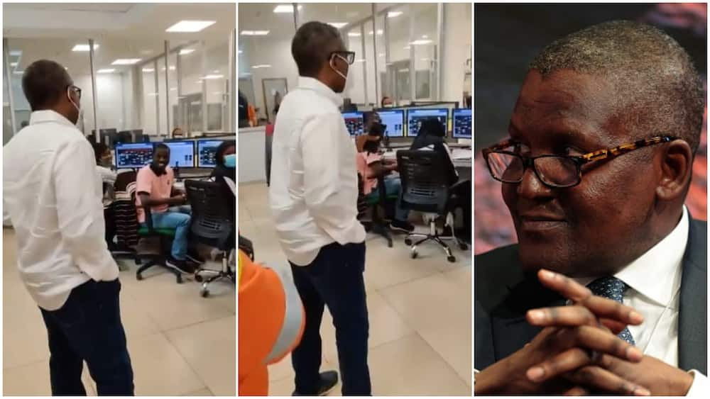 African's richest man Dangote humbles himself, speaks to his employers to motivate them, video goes viral