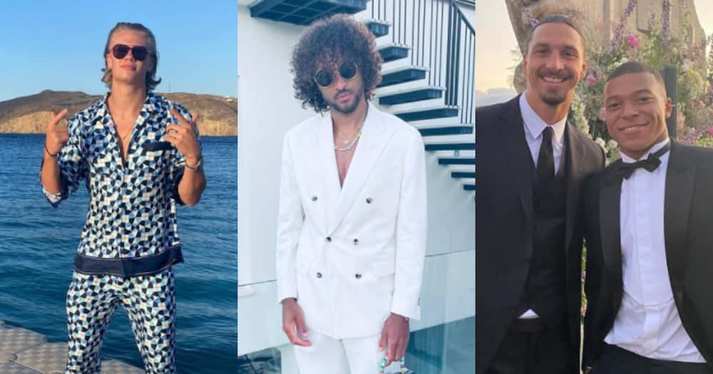 Compilation of football stars on holiday