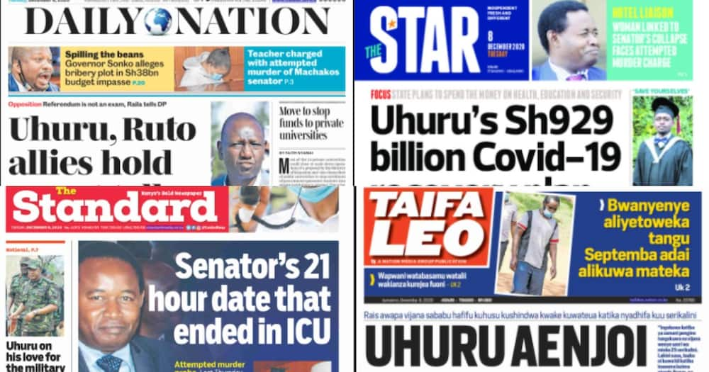 Kenyan newspapers review for December 8: Ruto offers to collect fresh BBI signatures in ongoing talks with Uhuru